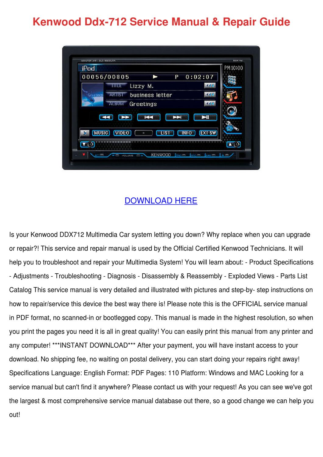 hight resolution of kenwood ddx 712 service manual repair guide by sherice lasala issuu