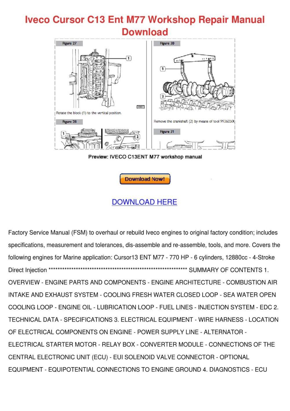 medium resolution of iveco cursor c13 ent m77 workshop repair manu by darci lovering issuu 2001 arctic cat 400 wiring diagram