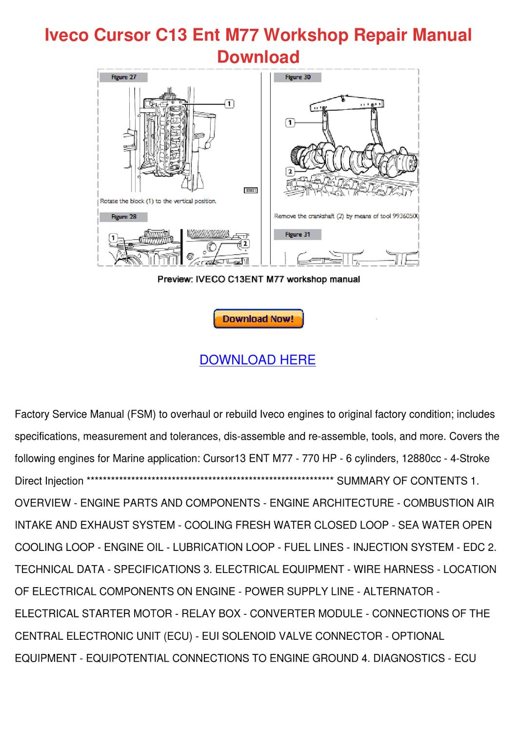hight resolution of iveco cursor c13 ent m77 workshop repair manu by darci lovering issuu 2001 arctic cat 400 wiring diagram