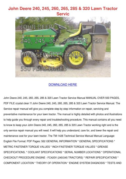 small resolution of john deere 240 245 260 265 285 320 lawn tract