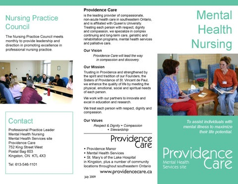 Mental Health Nursing Brochure By Providence Care Issuu