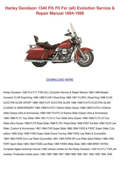 small resolution of page 1 harley davidson 1340 flh flt fxr all evolutio by janay grogan issuu