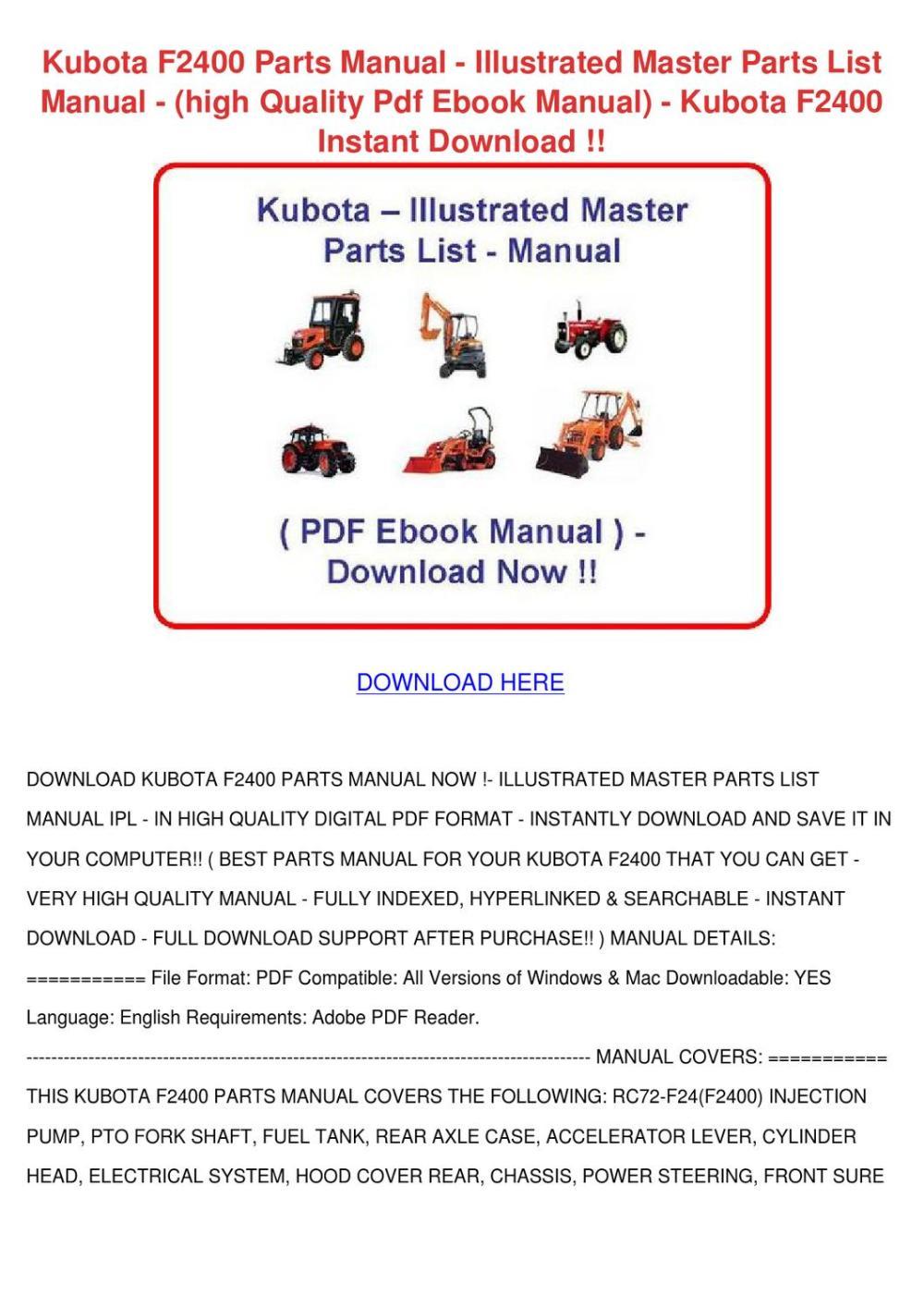 medium resolution of kubota f2400 parts manual illustrated master