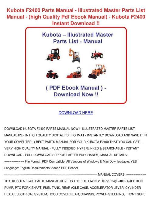 small resolution of kubota f2400 parts manual illustrated master