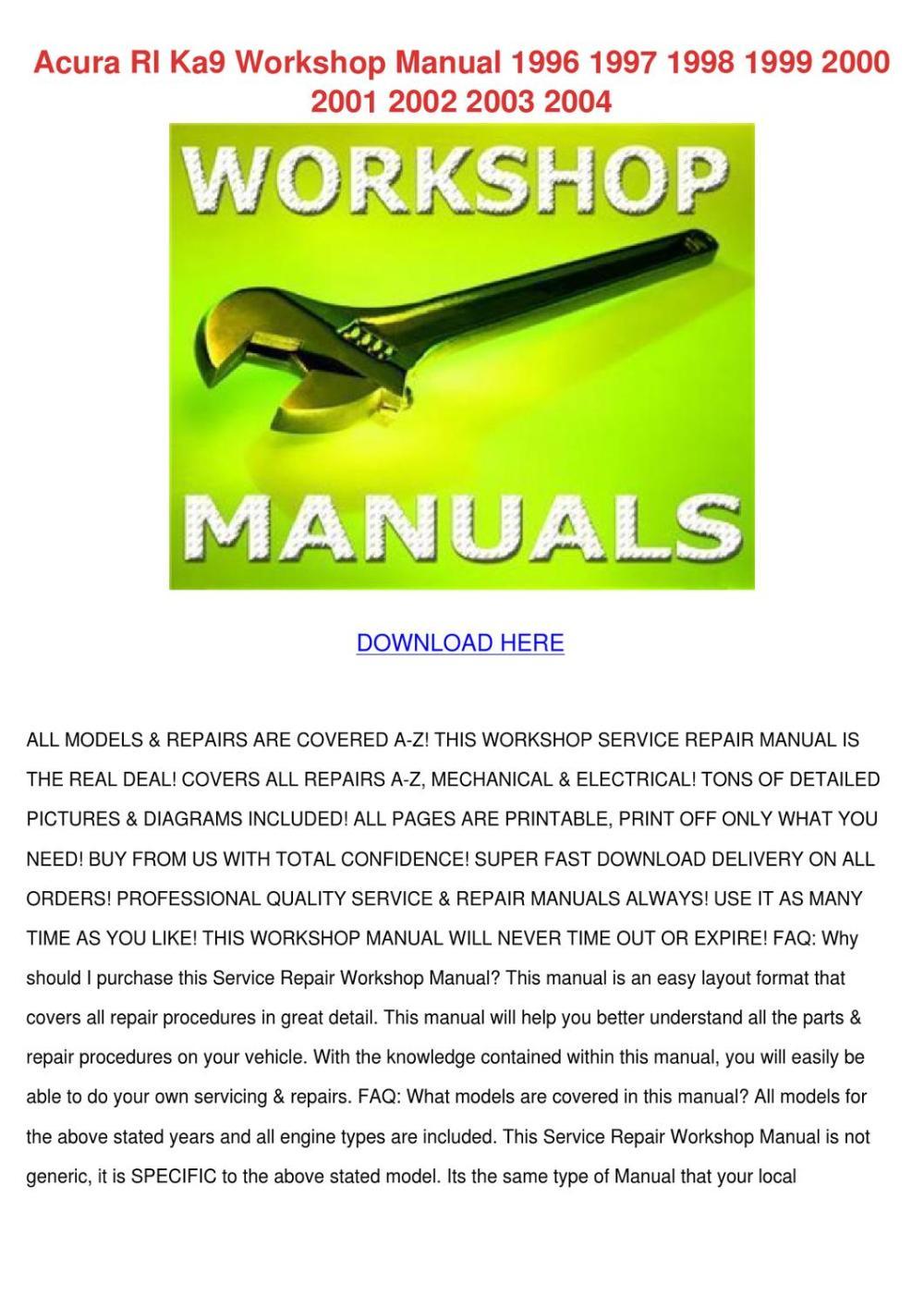 medium resolution of acura rl ka9 workshop manual 1996 1997 1998 1