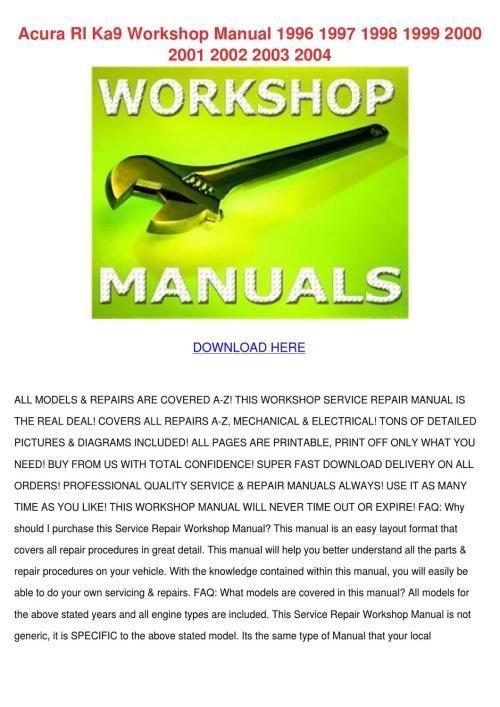 small resolution of acura rl ka9 workshop manual 1996 1997 1998 1