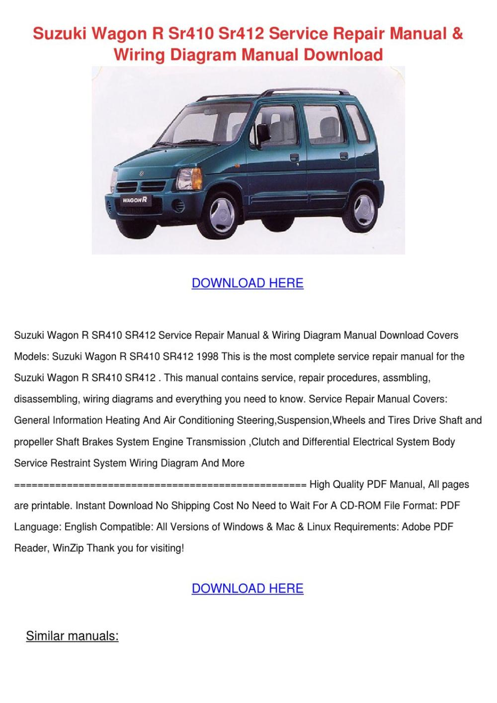 medium resolution of suzuki wagon r sr410 sr412 service repair man by yadira angeli issuu