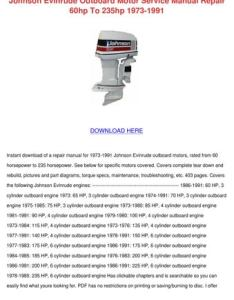 Johnson evinrude outboard motor service manual repair hp to hp also manua by norene jeffry issuu rh