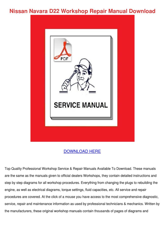 hight resolution of nissan navara d22 workshop repair manual down by letha barreneche issuu