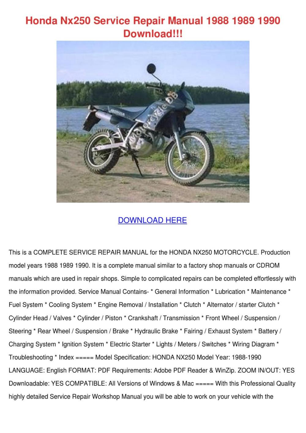 medium resolution of honda nx250 service repair manual 1988 1989 1 by temika jawad issuuhonda nx250 service repair manual