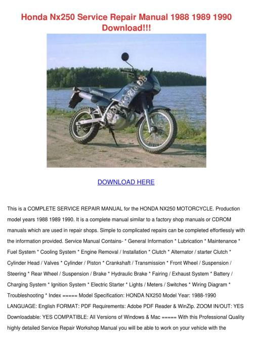 small resolution of honda nx250 service repair manual 1988 1989 1 by temika jawad issuuhonda nx250 service repair manual