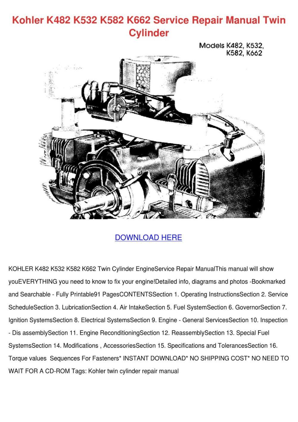medium resolution of kohler k482 k532 k582 k662 service repair man