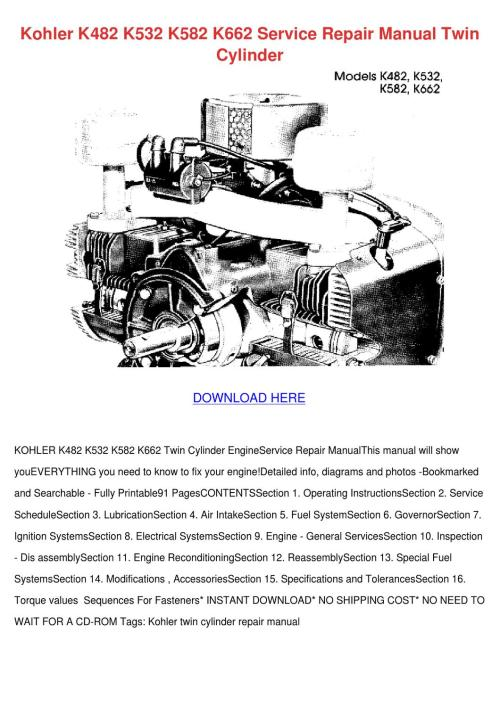small resolution of kohler k482 k532 k582 k662 service repair man