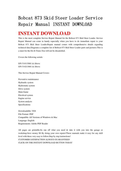 small resolution of bobcat 873 skid steer loader service repair manual instant download by chen wei issuu