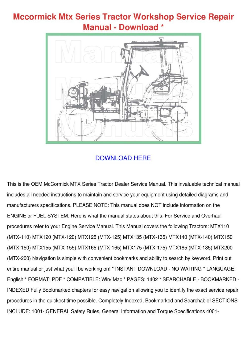 medium resolution of mccormick mtx series tractor workshop service by adrianne walbright issuu