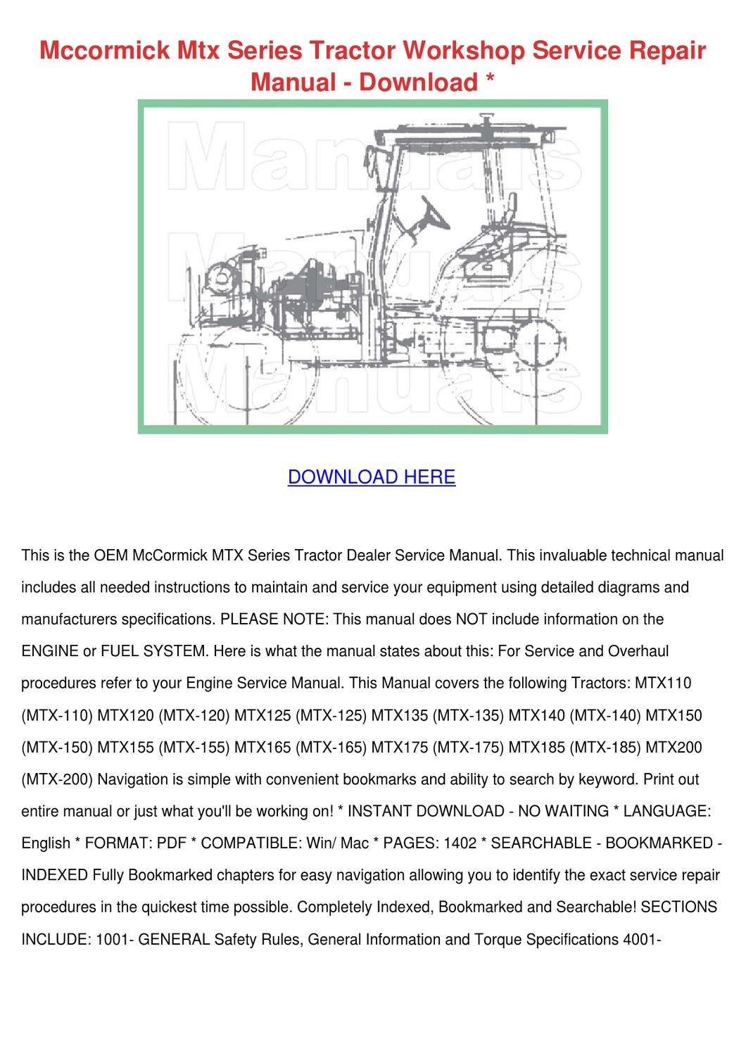 hight resolution of mccormick mtx series tractor workshop service by adrianne walbright issuu