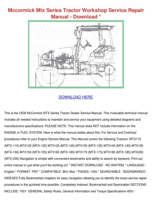 small resolution of mccormick mtx series tractor workshop service by adrianne walbright issuu