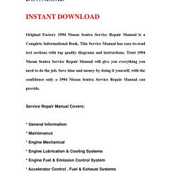 1994 Nissan Sentra Engine Diagram Wiring For Trailer With Electric Brakes Service Repair Manual Download By Qin