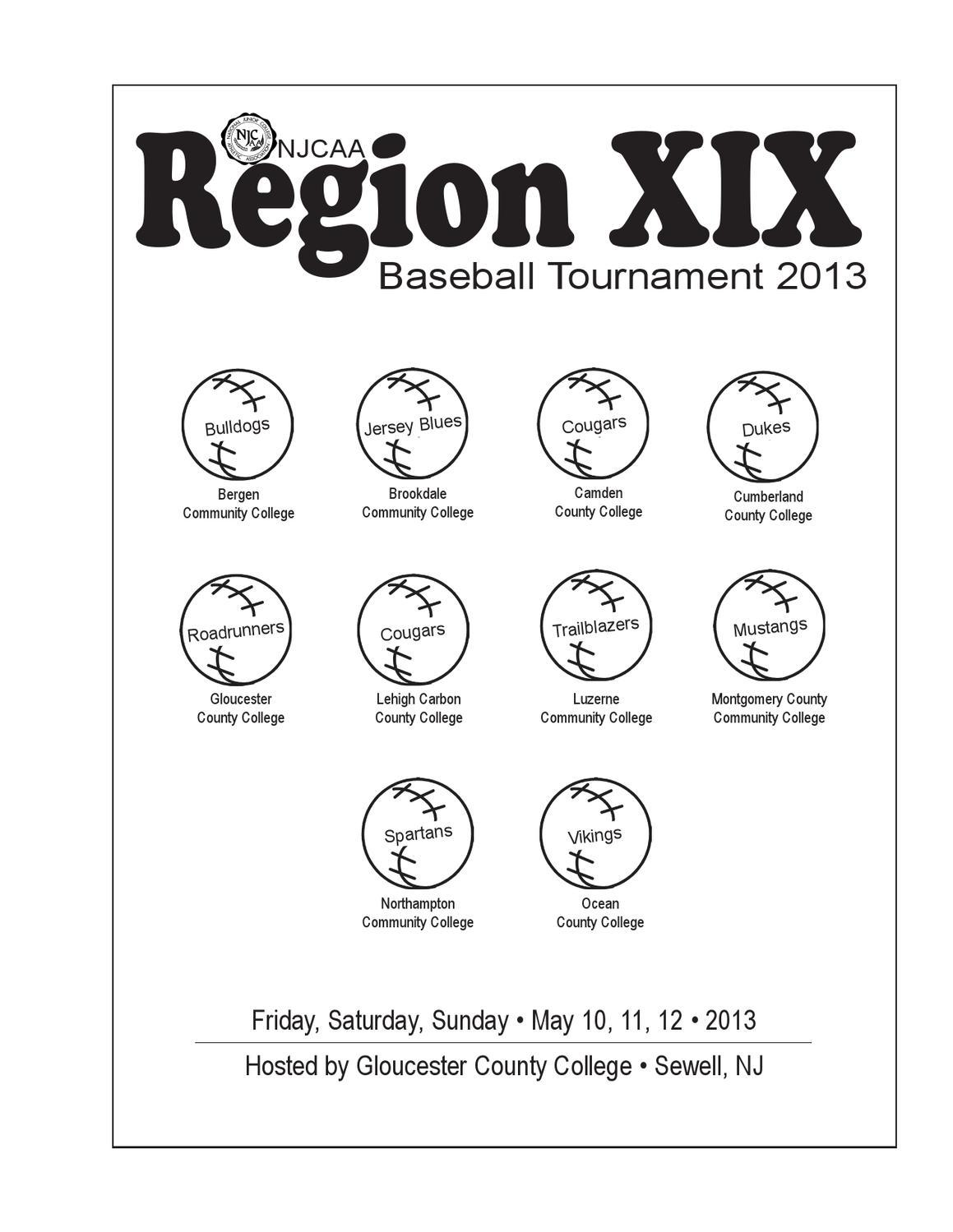 NJCAA Region 19 Division III Baseball Tournament Program