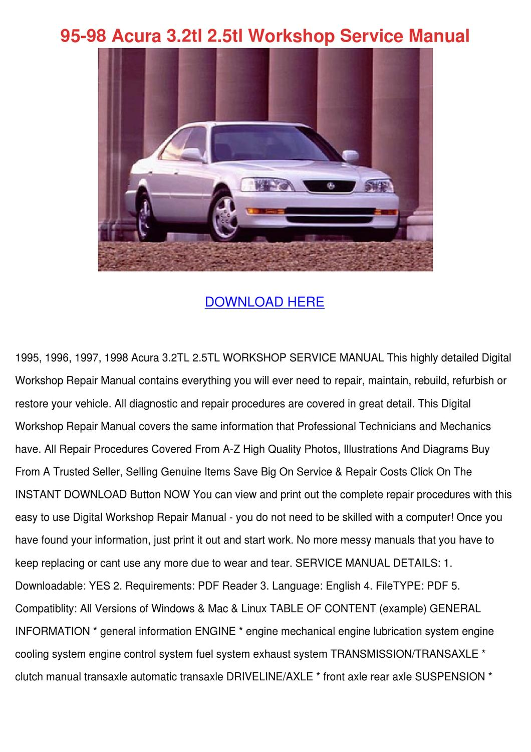 hight resolution of 95 98 acura 32tl 25tl workshop service manual by micaela luria issuu