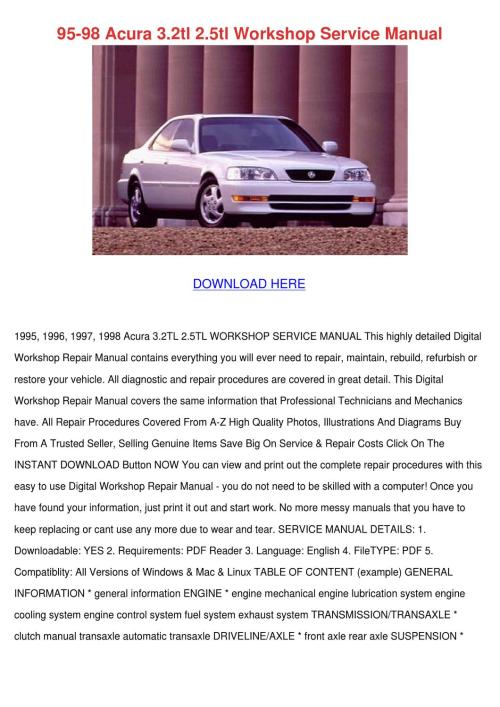 small resolution of 95 98 acura 32tl 25tl workshop service manual by micaela luria issuu