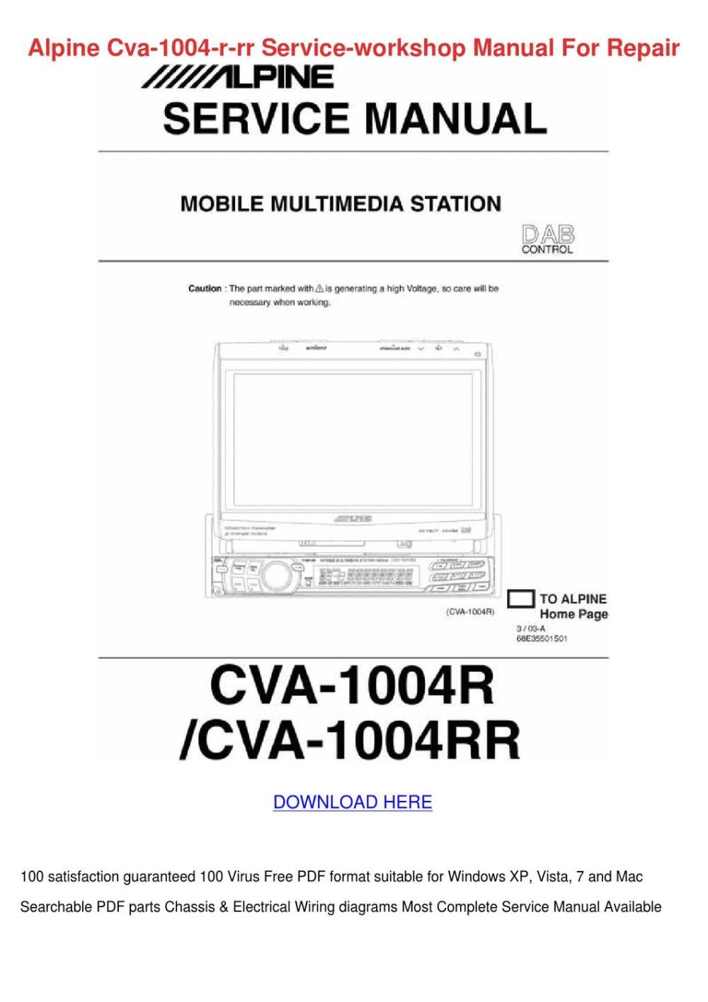 medium resolution of alpine cva 1004 r rr service workshop manual