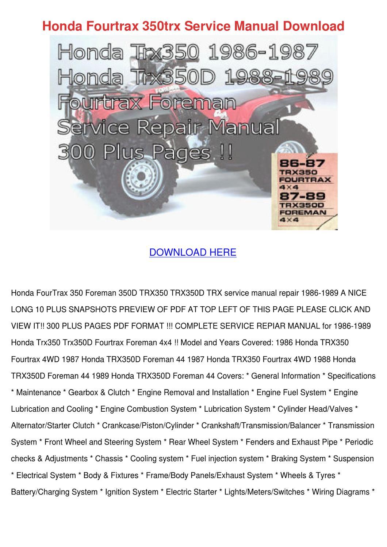 hight resolution of honda fourtrax 350trx service manual download by alise neveu issuu89 honda 350 fourtrax wiring diagram