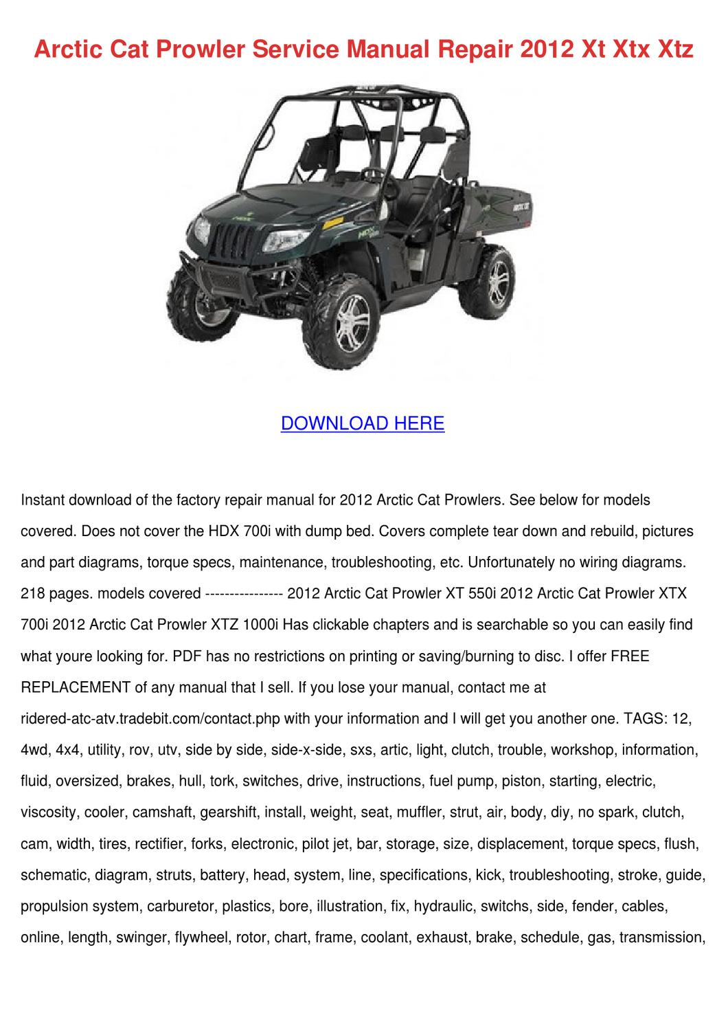 hight resolution of arctic cat prowler service manual repair 2012 by princess smoley issuu