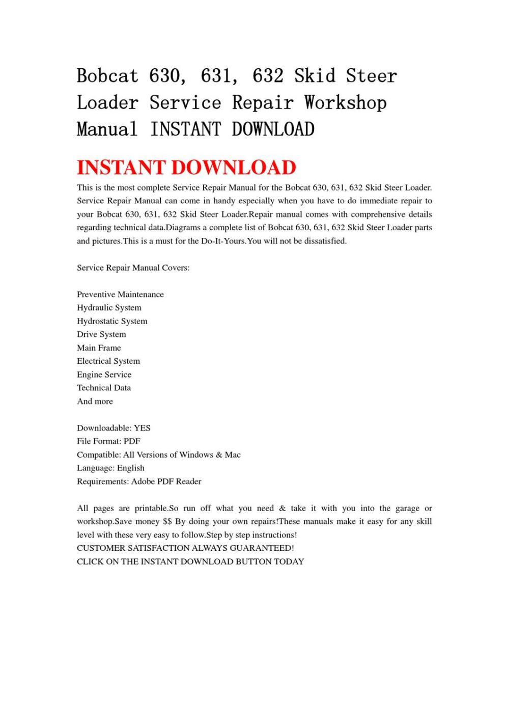medium resolution of bobcat 630 631 632 skid steer loader service repair workshop manual instant download by qin wanga issuu