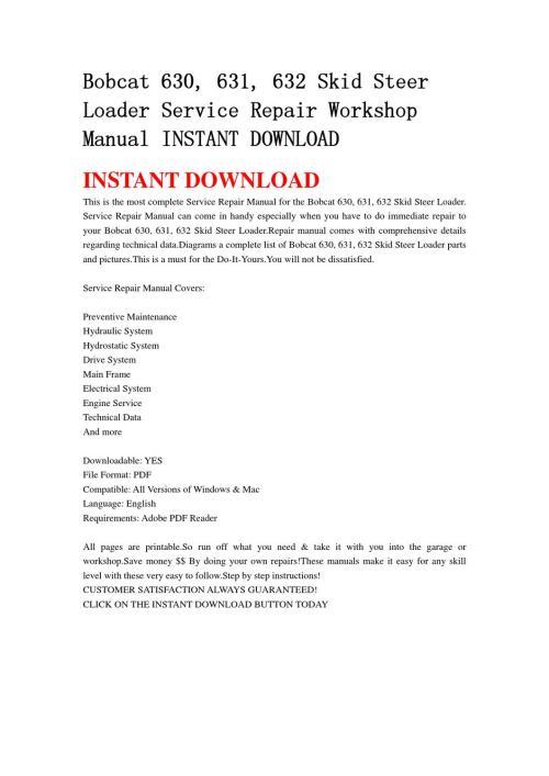 small resolution of bobcat 630 631 632 skid steer loader service repair workshop manual instant download by qin wanga issuu