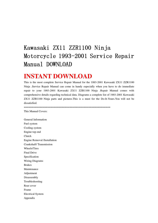 hight resolution of kawasaki zx11 zzr1100 ninja motorcycle 1993 2001 service repair manual download by qin wanga issuu