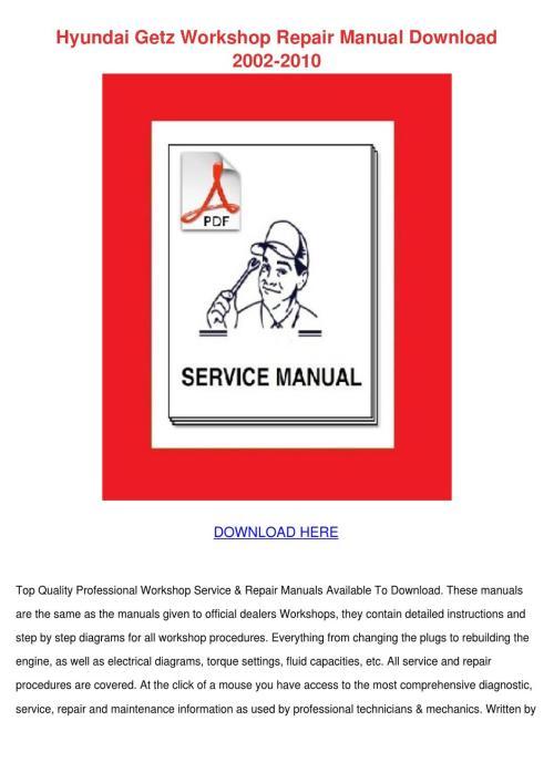 small resolution of hyundai getz workshop repair manual download