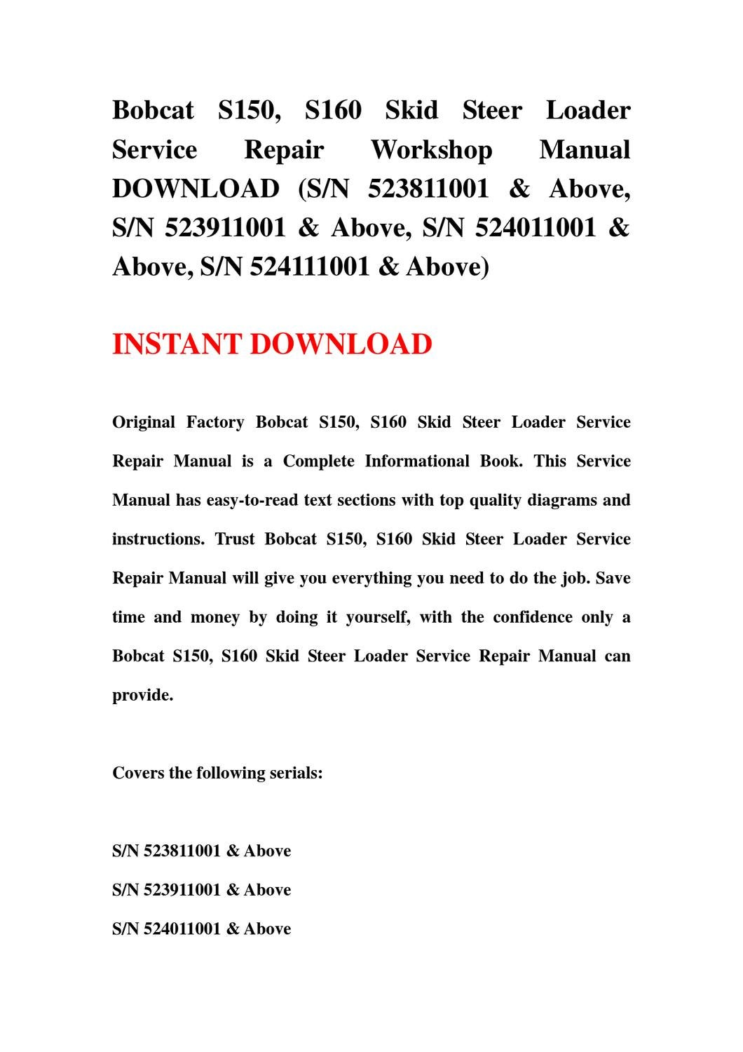 hight resolution of bobcat s150 s160 skid steer loader service repair workshop manual download sn 523811001 above s by qin mei issuu