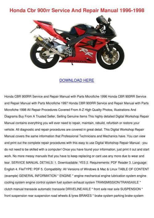 small resolution of honda cbr 900rr service and repair manual 199 by reda mccrady issuu