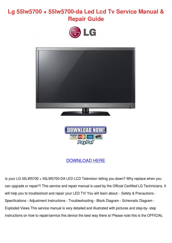 hight resolution of lg 55lw5700 55lw5700 da led lcd tv service ma