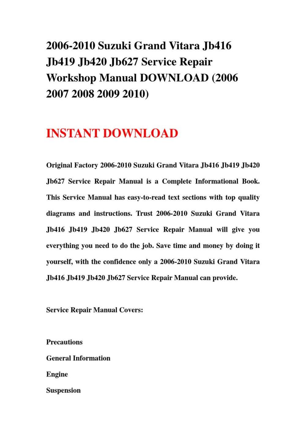medium resolution of 2006 2010 suzuki grand vitara jb416 jb419 jb420 jb627 service repair workshop manual download 2006