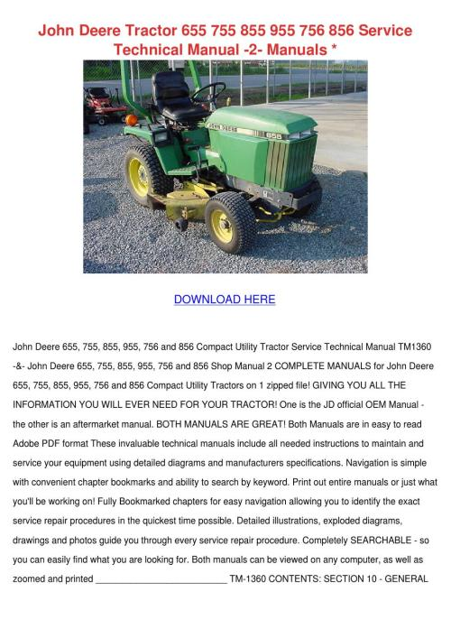 small resolution of john deere tractor 655 755 855 955 756 856 se