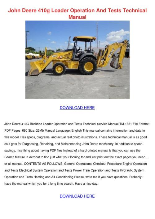 small resolution of john deere 410g loader operation and tests te