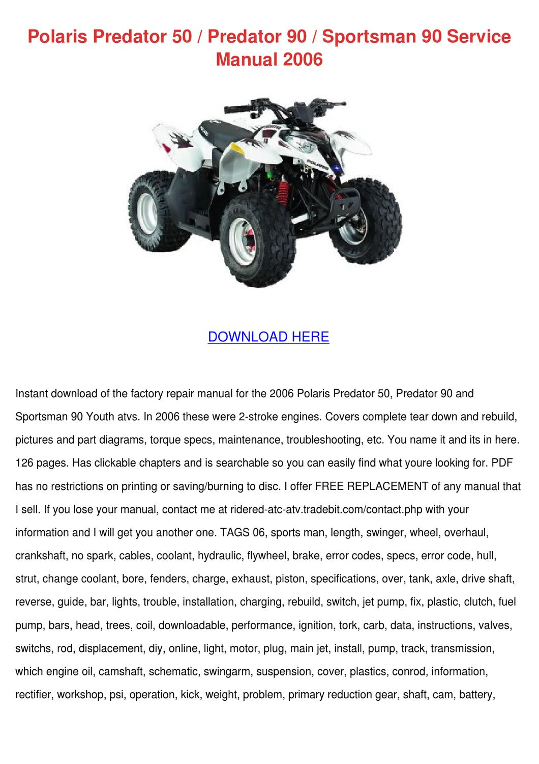 polaris predator 50 service manual