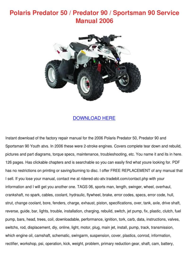 Polaris Predator 50 90 Sportsman By Gale Deppner Issuu