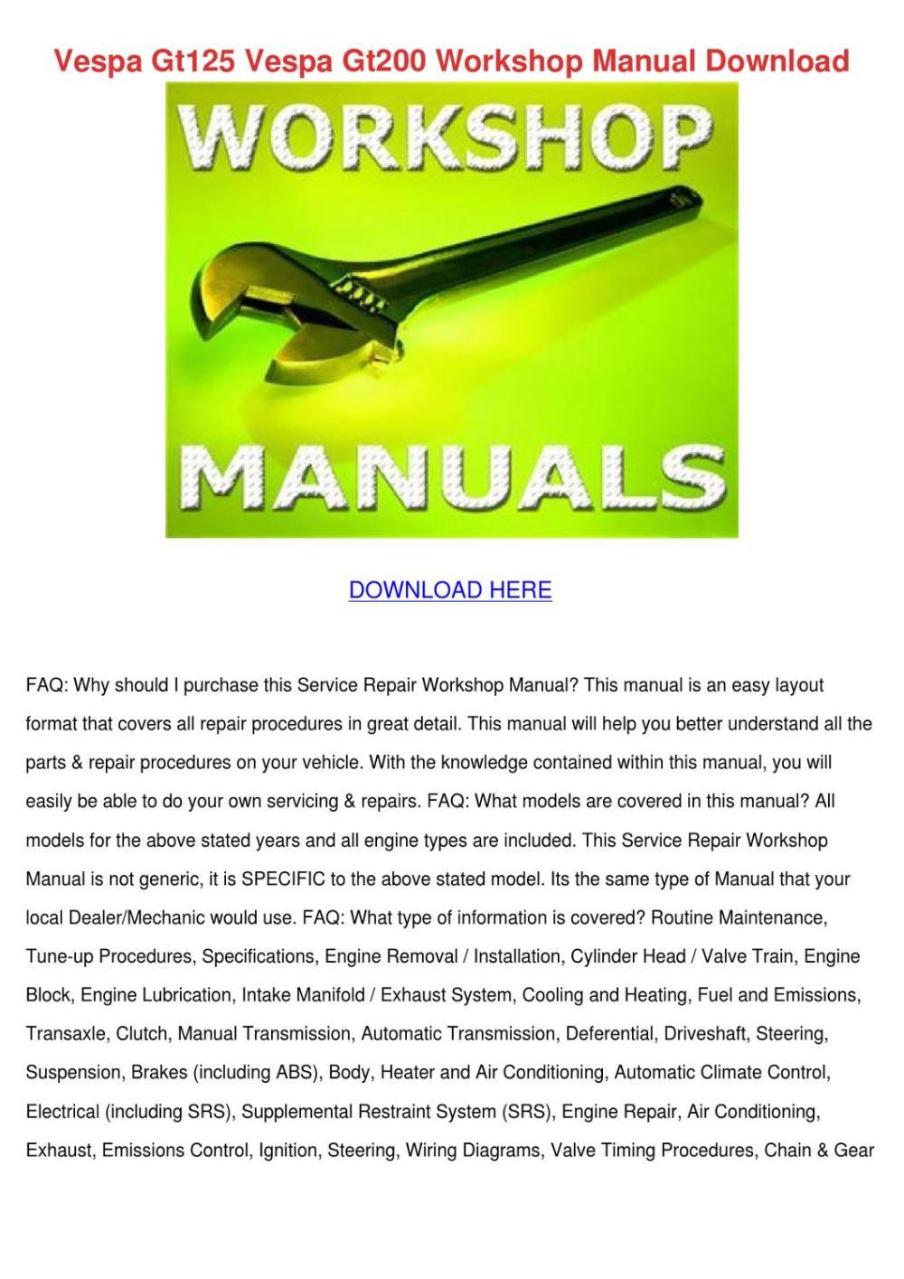 medium resolution of vespa gt125 vespa gt200 workshop manual downl