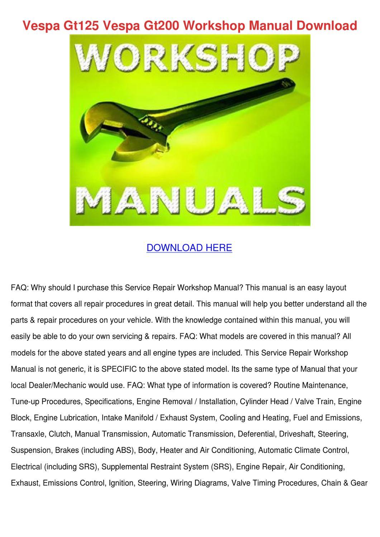 hight resolution of vespa gt125 vespa gt200 workshop manual downl