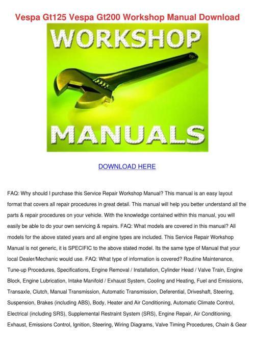 small resolution of vespa gt125 vespa gt200 workshop manual downl