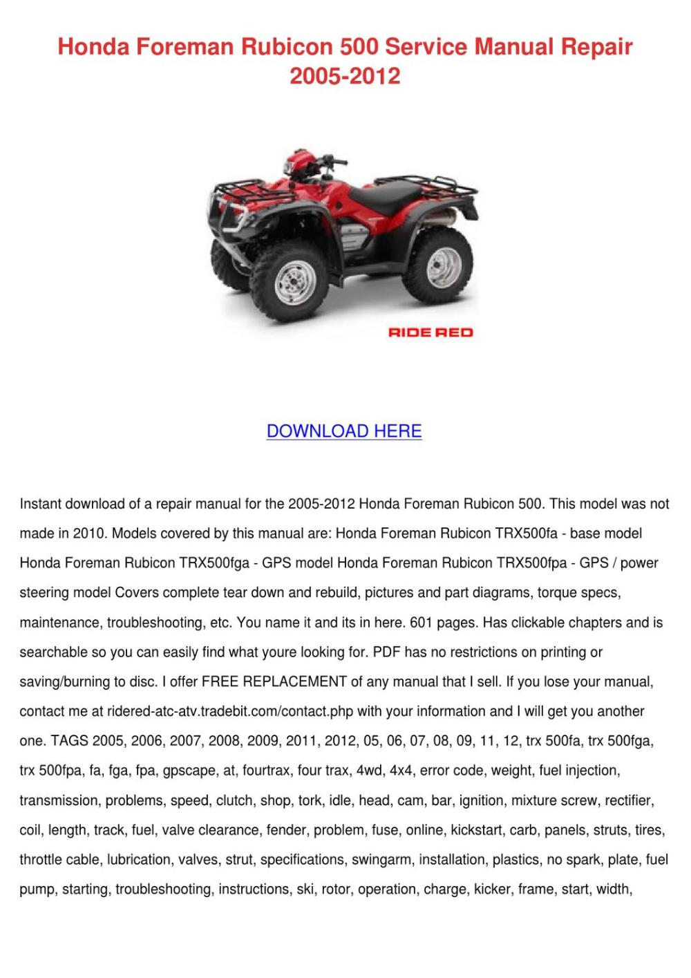 medium resolution of 2003 honda rubicon trx500fa wiring diagram