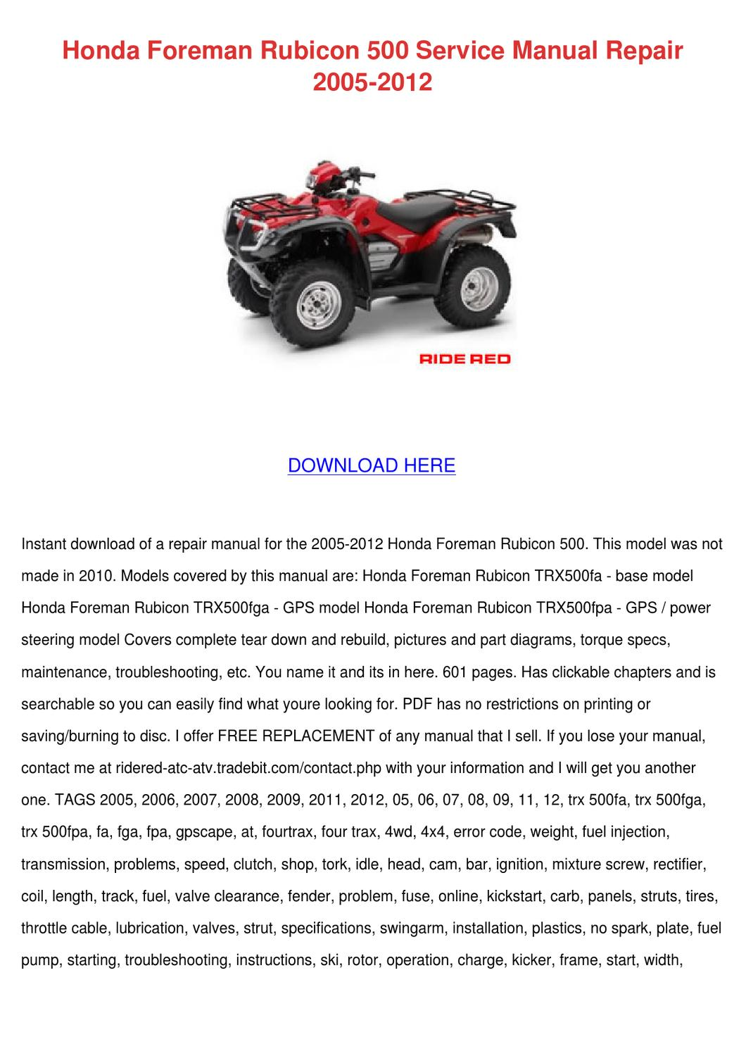 hight resolution of 2003 honda rubicon trx500fa wiring diagram
