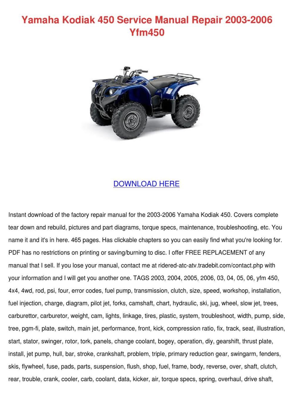 medium resolution of yamaha kodiak 450 service manual repair 2003