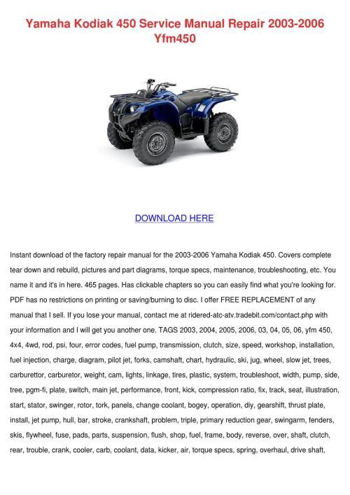 small resolution of yamaha kodiak 450 service manual repair 2003