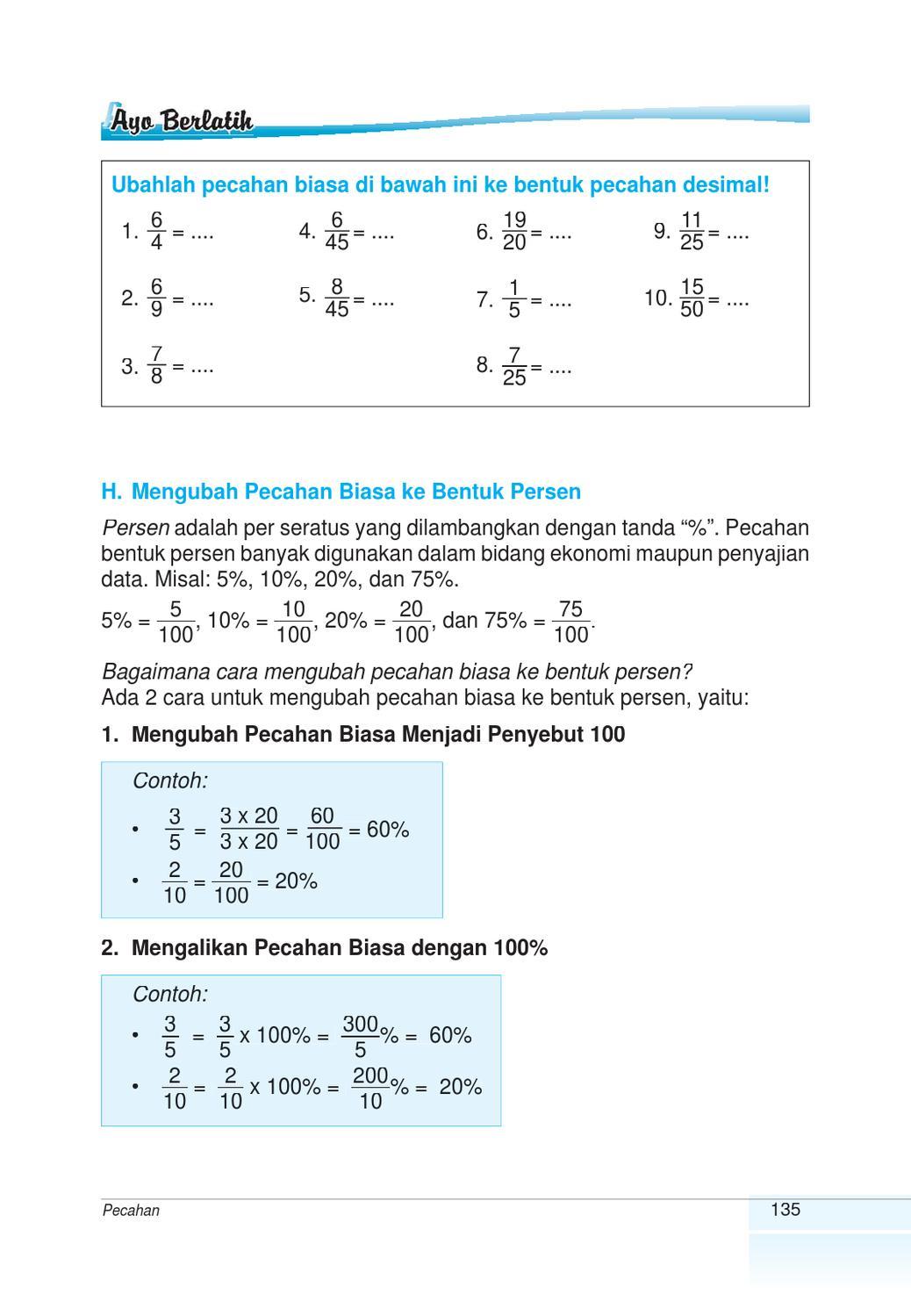 Mengubah Persen Ke Pecahan Biasa : mengubah, persen, pecahan, biasa, Kelas, Matematika, Suparti, Herawati, Issuu