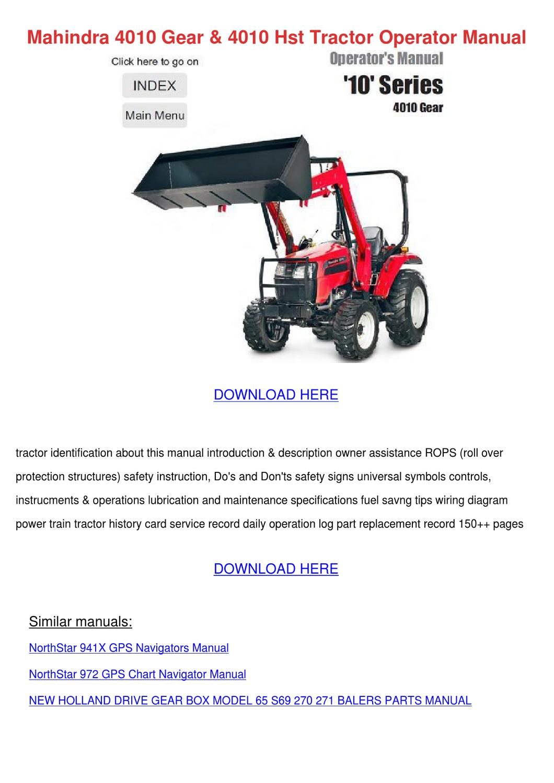 hight resolution of mahindra 4010 gear 4010 hst tractor operator