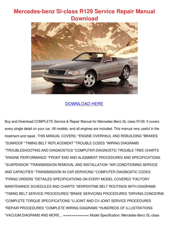 hight resolution of mercedes benz sl class r129 service repair ma